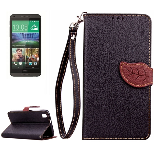 Leaf Magnetic Snap Litchi Texture Flip Leather Case for HTC Desire 816 with Lanyard (Black)