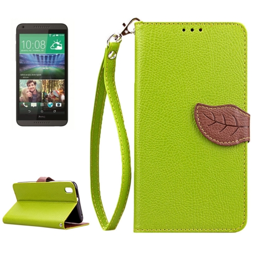 Leaf Magnetic Snap Litchi Texture Flip Leather Case for HTC Desire 816 with Lanyard (Green)