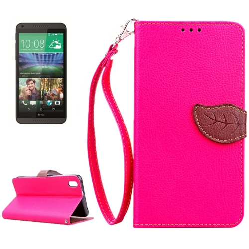Leaf Magnetic Snap Litchi Texture Flip Leather Case for HTC Desire 816 with Lanyard (Rose)