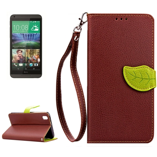 Leaf Magnetic Snap Litchi Texture Flip Leather Case for HTC Desire 816 with Lanyard (Brown)