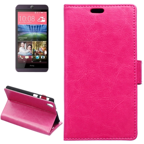 Crazy Horse Texture Horizontal Wallet Flip Leather Case for HTC Desire 826 with Magnetic Buckle (Rose)