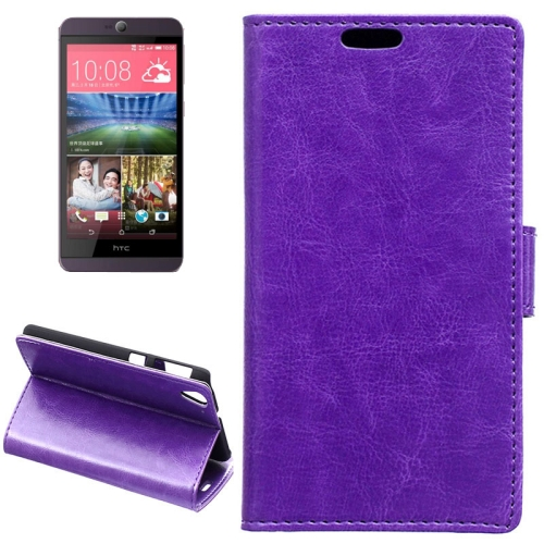 Crazy Horse Texture Horizontal Wallet Flip Leather Case for HTC Desire 826 with Magnetic Buckle (Purple)