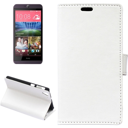 Crazy Horse Texture Horizontal Wallet Flip Leather Case for HTC Desire 826 with Magnetic Buckle (White)