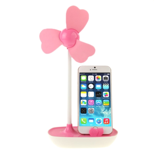 Nice Design HAPTIME YGH521 USB Powered 3-Blade DIY Fan with Phone Holder (Pink)