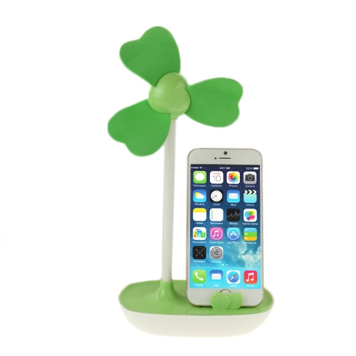 Nice Design HAPTIME YGH521 USB Powered 3-Blade DIY Fan with Phone Holder (Green)