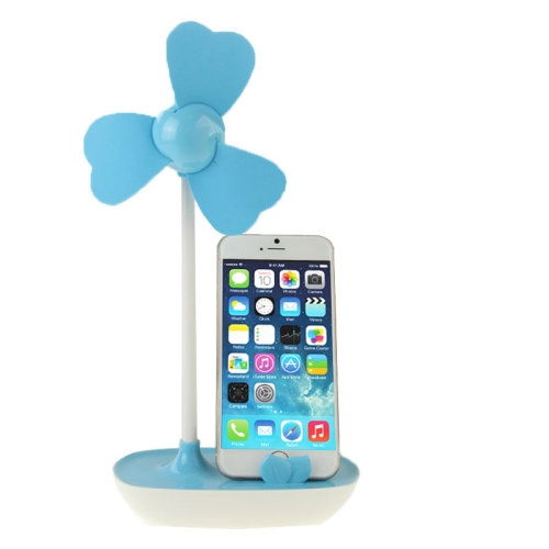 Nice Design HAPTIME YGH521 USB Powered 3-Blade DIY Fan with Phone Holder (Blue)