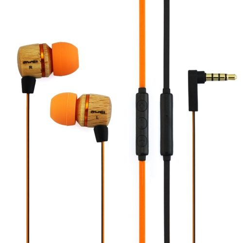 Awei-ES16Hi 3.5mm Plug Wood Style In-ear Stereo Earphone with Mic for iPhone 6/ 6 Plus/ HTC M9/ Samsung Galaxy/ etc (Orange)