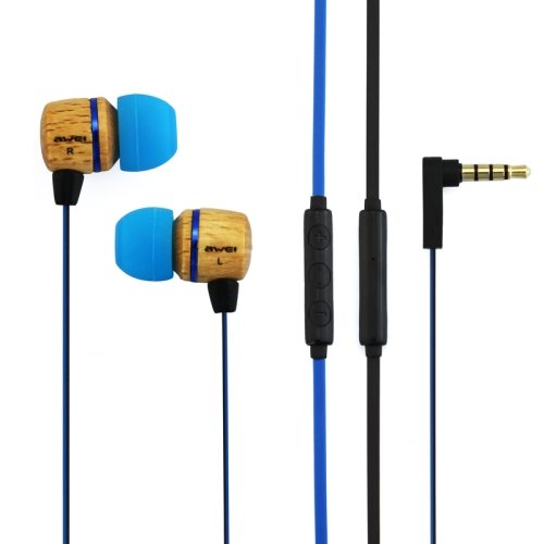 Awei-ES16Hi 3.5mm Plug Wood Style In-ear Stereo Earphone with Mic for iPhone 6/ 6 Plus/ HTC M9/ Samsung Galaxy/ etc (Blue)