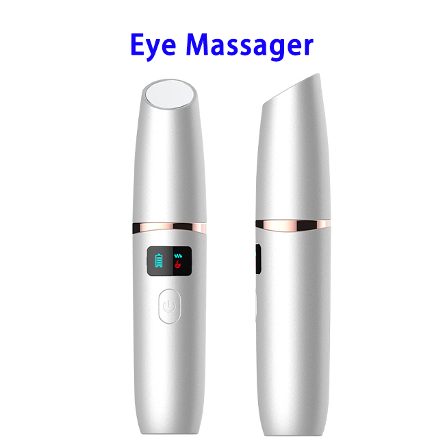 New Arrival Mini LCD Electric Heat Vibrator Eye Massager(Silver)