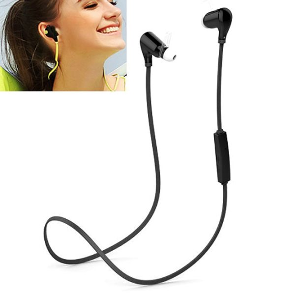 QCY Bluetooth Wireless Stereo and Line-In Sport Earphone with HD Mic (Black)