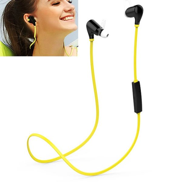 QCY Bluetooth Wireless Stereo and Line-In Sport Earphone with HD Mic (Yellow)