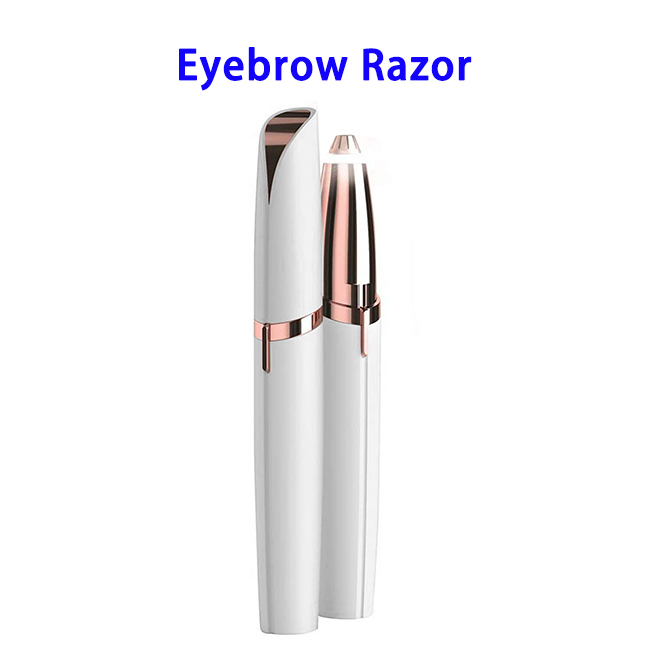 Battery Powered Women's Painless Hair Remover Instant Eyebrow Razor (White)