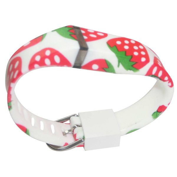 Hot Selling Creative Design Replacement Wristband for Fitbit Flex with Metal Clasp (Strawberry Pattern)