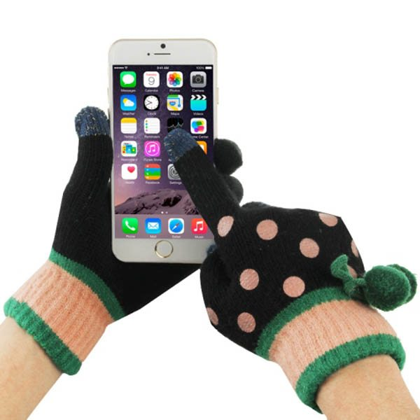 Fashionable Dot Pattern 2-finger Capacitive Touch Gloves for Women (Black + Green)