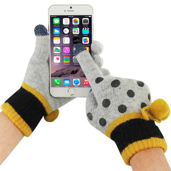 Fashionable Dot Pattern 2-finger Capacitive Touch Gloves for Women (White + Yellow)