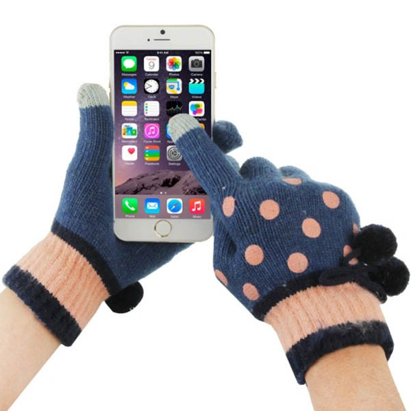 Fashionable Dot Pattern 2-finger Capacitive Touch Gloves for Women (Pink + Blue)
