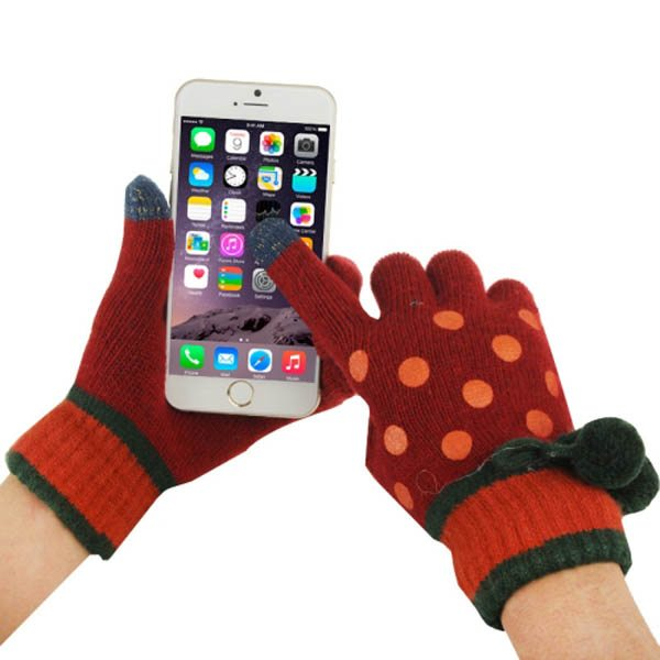 Fashionable Dot Pattern 2-finger Capacitive Touch Gloves for Women (Red + Orange)