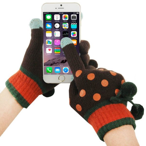 Fashionable Dot Pattern 2-finger Capacitive Touch Gloves for Women (Brown + Orange)
