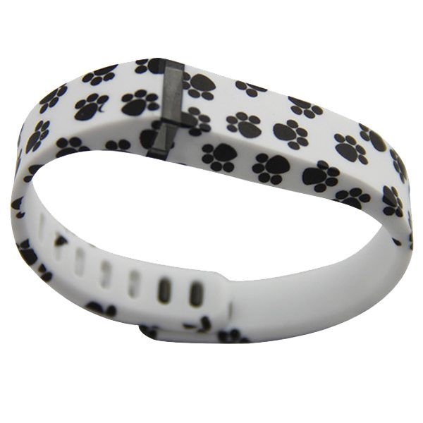 Unrivalled Quality Footprint Pattern Replacement Wristband for Fitbit Flex with Metal Clasp(White)
