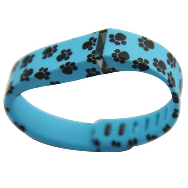 Unrivalled Quality Footprint Pattern Replacement Wristband for Fitbit Flex with Metal Clasp(Blue)