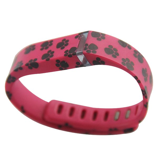 Unrivalled Quality Footprint Pattern Replacement Wristband for Fitbit Flex with Metal Clasp(Red)