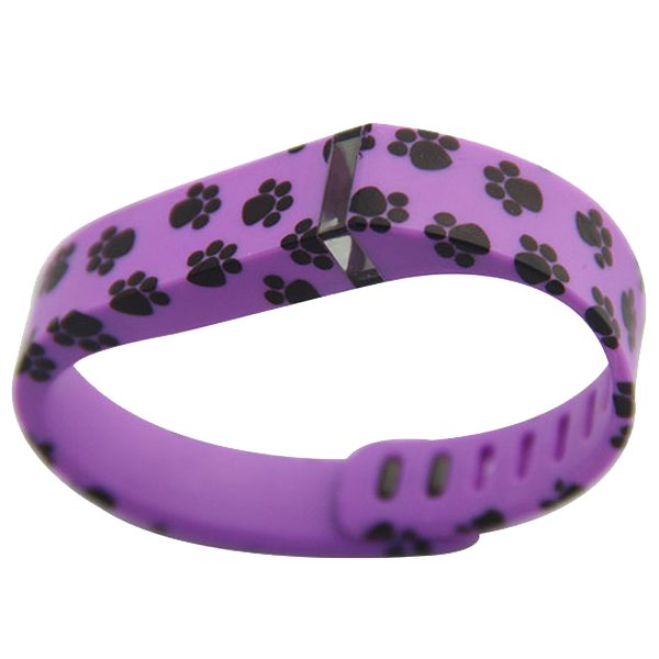 Unrivalled Quality Footprint Pattern Replacement Wristband for Fitbit Flex with Metal Clasp(Purple)