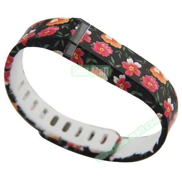Cheap Smart Replacement Wristband for Fitbit Flex with Kirsite Clasp (Flower Pattern Three)