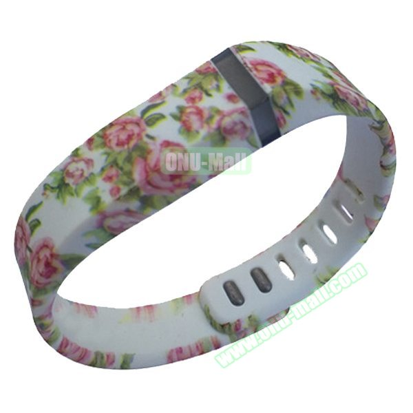 Cheap Smart Replacement Wristband for Fitbit Flex with Kirsite Clasp (Flower Pattern Four )