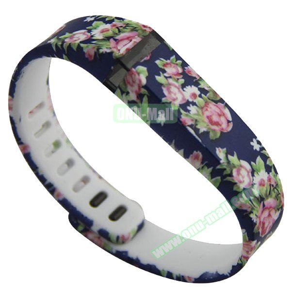 Cheap Smart Replacement Wristband for Fitbit Flex with Kirsite Clasp (Flower Pattern Five )