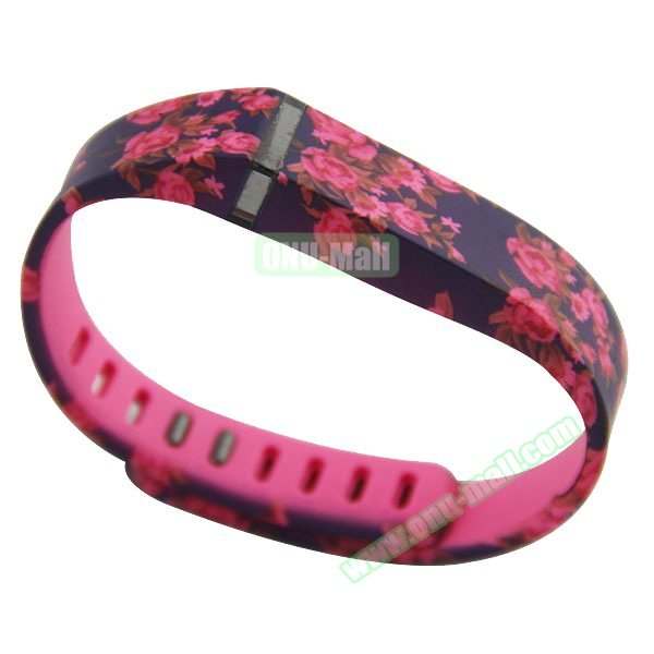 Cheap Smart Replacement Wristband for Fitbit Flex with Kirsite Clasp (Flower Pattern Six )