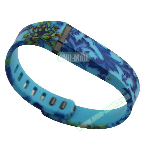 Cheap Smart Replacement Wristband for Fitbit Flex with Kirsite Clasp (Blue Flower  )