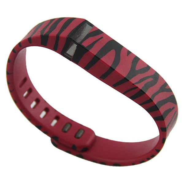 2015 New Style Strip Pattern Replacement Wristband for Fitbit Flex with Metal Clasp (Red)