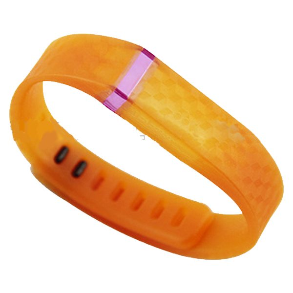 3D Stereoscopic Glowing Pattern Replacement Wristband for Fitbit Flex with Aluminum Clasp (Orange)