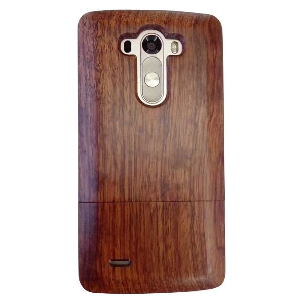 Unique Design Protective Hard Separable Wood Case for LG G3 (Dark Brown)