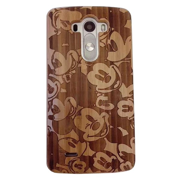 Unique Design Protective Hard Separable Wood Case for LG G3 (Mickey Pattern)