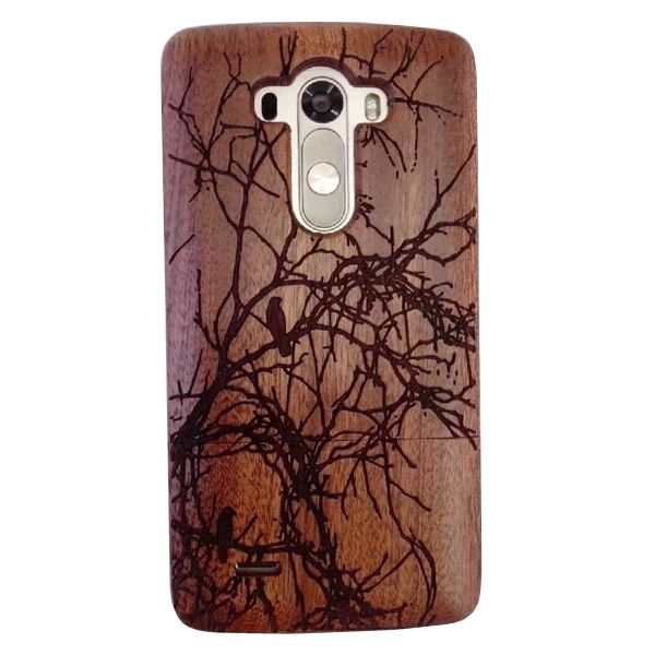 Unique Design Protective Hard Separable Wood Case for LG G3 (Tree and Bird Pattern)