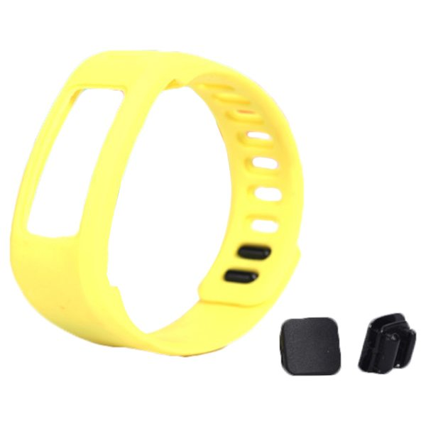 High Quality Eco-friendly TPE and TPU Replacement Wristband for Garmin Vivofit with Metal Clasp (Yellow)