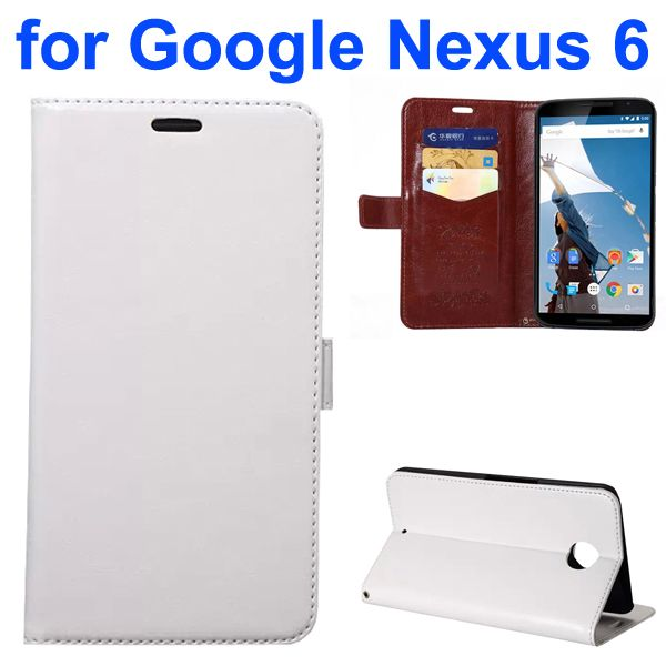 Fine Sheep Texture PU Wallet Leather Case for Google Nexus 6 with Card Slots (White)