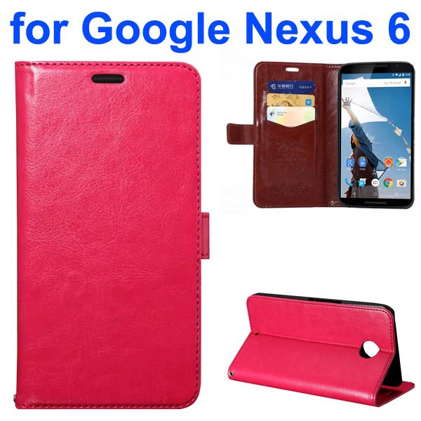 Fine Sheep Texture PU Wallet Leather Case for Google Nexus 6 with Card Slots (Rose)
