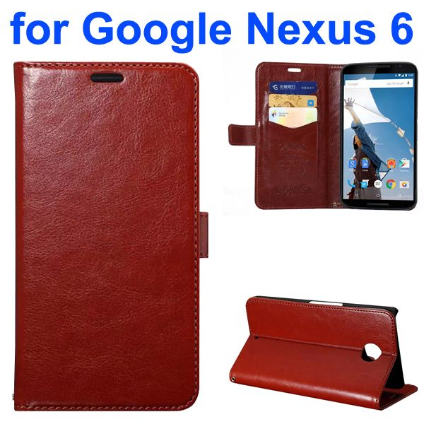 Fine Sheep Texture PU Wallet Leather Case for Google Nexus 6 with Card Slots (Magenta)