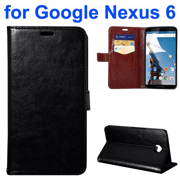 Fine Sheep Texture PU Wallet Leather Case for Google Nexus 6 with Card Slots (Black)