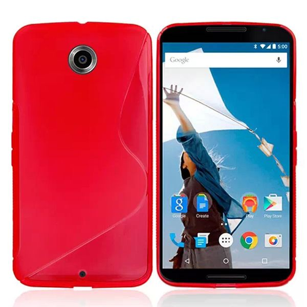 Frosted Texture Transparent S Line TPU Case for Google Nexus 6 (Red)