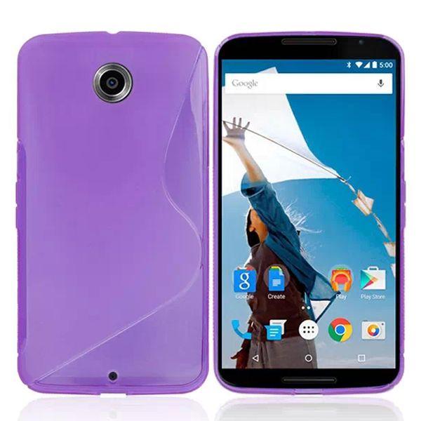 Frosted Texture Transparent S Line TPU Case for Google Nexus 6 (Purple)
