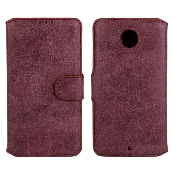 Frosted Wallet Style Flip Leather Cover for Motorola Nexus 6 (Wine Red)
