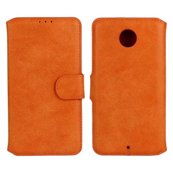 Frosted Wallet Style Flip Leather Cover for Motorola Nexus 6 (Orange)