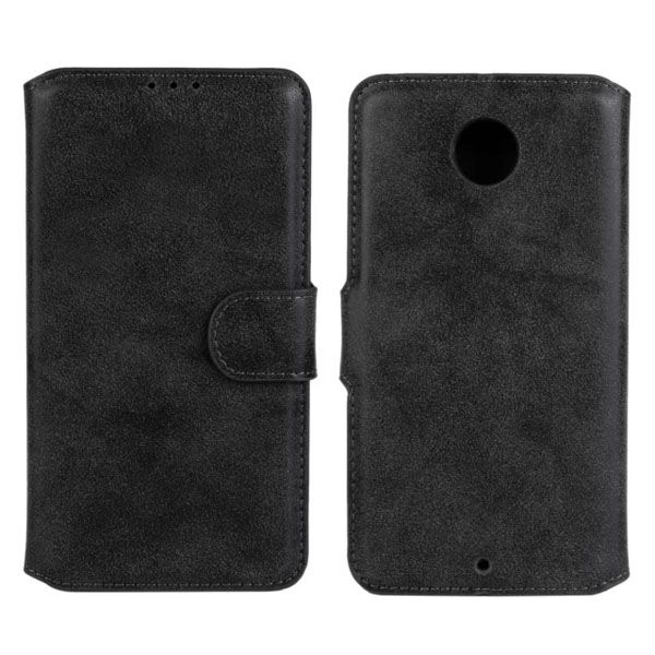 Frosted Wallet Style Flip Leather Cover for Motorola Nexus 6 (Black)