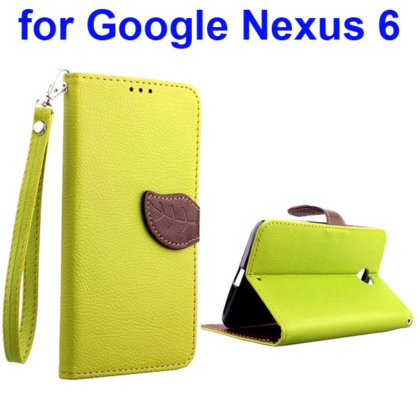 Leaf Magnetic Closure Flip Leather Case for Google Nexus 6 with Lanyard (Green)