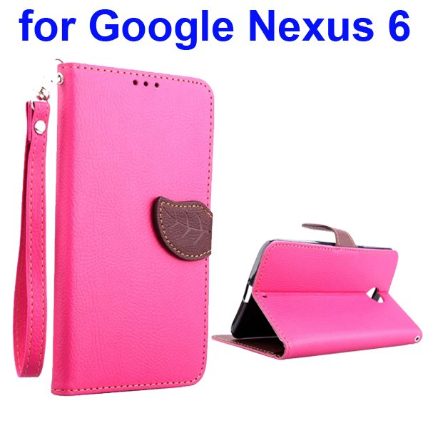 Leaf Magnetic Closure Flip Leather Case for Google Nexus 6 with Lanyard (Rose)