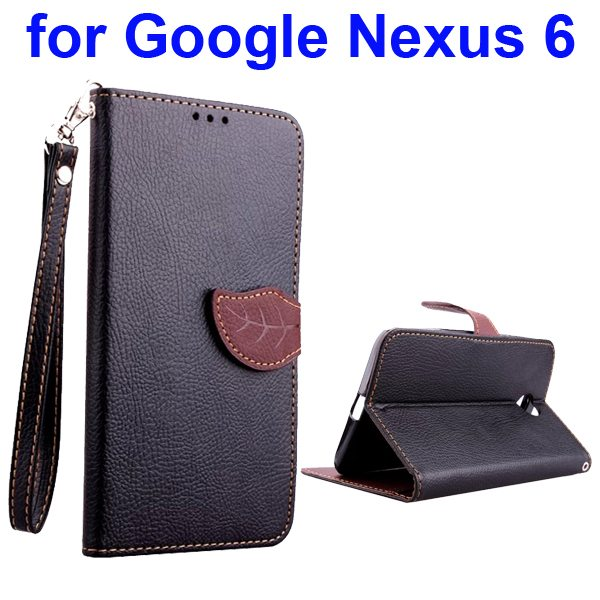 Leaf Magnetic Closure Flip Leather Case for Google Nexus 6 with Lanyard (Black)