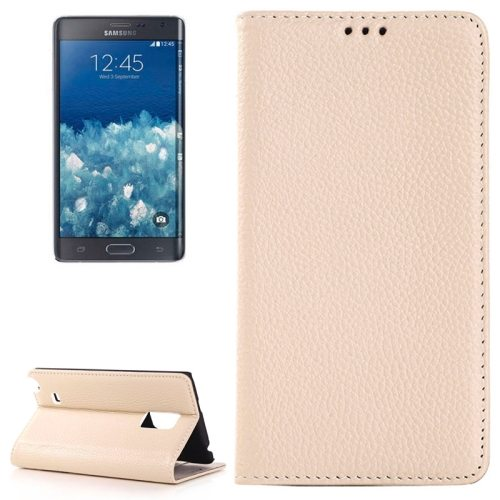 Litchi Texture Horizontal Wallet Style PU Leather Flip Cover Case for Samsung Galaxy Note Edge N915F (White)
